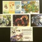 Nintendo 3DS Pokemon X & Y Large Promo Art / Data Cards Set of 5 + Flyer