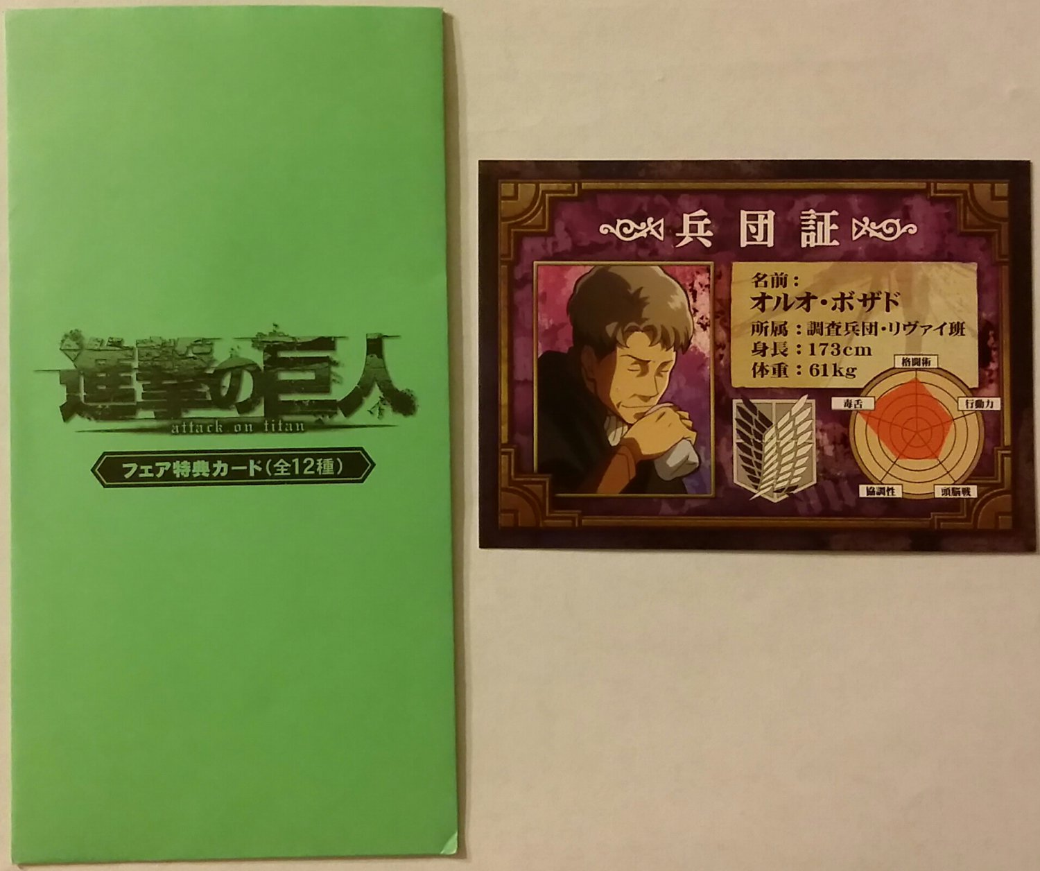 Attack on Titan (Shingeki no Kyojin) Oluo Bozado Identification Card Promo