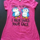 "Penguins ""I Didn't Slap You... I High Fived Your Face"" Hot Pink T-Shirt Juniors Medium NEW w/o Tags"