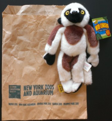 "NYC Bronx Zoo Wild Republic Wild Clingers 8"" Lemur Plush w/Magnetic hands & feet New w/Tag"