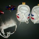 Build a Bear White Red Blue Sneakers Athletic Shoes & Head band w/ Wind Mill