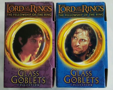 LOTR Fellowship of the Rings Glass Goblets, Strider and Frodo, 2001