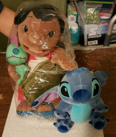 Disney Lilo & Stitch plush set Lilo & Scrump w/bag + 7 in. Stitch