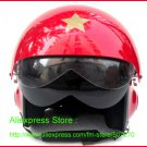 TK Chinese Military Air Force Jet Pilot Open Face Motorcycle Red Helmet & Visor Free