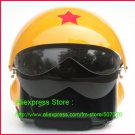 TK Chinese Military Air Force Jet Pilot Open Face Motorcycle Yellow Helmet & Visor Free