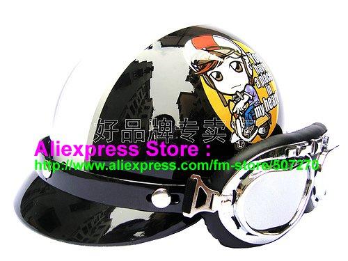 P.06 ABS Half Bol Cycling Open Face Motorcycle Black # Motor Girl Helmet Casco Casque & Goggles