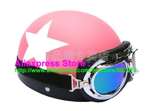 P.07 ABS Half Bol Cycling Open Face Motorcycle Matt Pink # White Star Helmet Casco Casque & Goggles