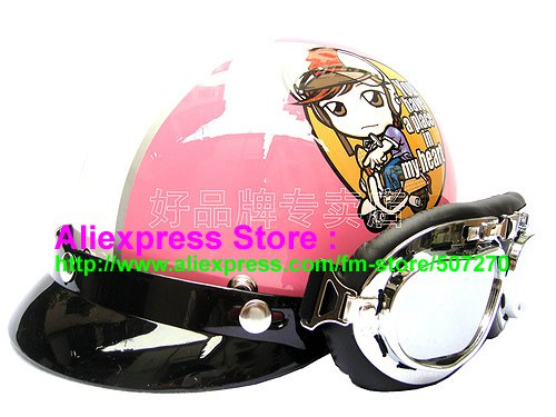P.08 ABS Half Bol Cycling Open Face Motorcycle Pink # Motor Girl Helmet Casco Casque & Goggles
