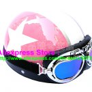 P.11 ABS Half Bol Cycling Open Face Motorcycle Pink # White Star Helmet Casco Casque & Goggles