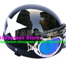 P.14 ABS Half Bol Cycling Open Face Motorcycle Black # White Star Helmet Casco Casque & Goggles