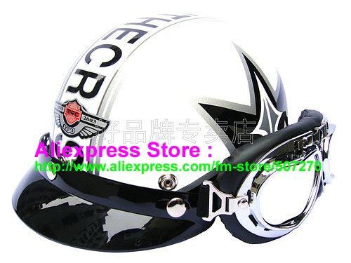 P.20 ABS Half Bol Cycling Open Face Motorcycle White # character Helmet Casco Casque & Goggles