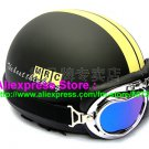 P.23 ABS Half Bol Cycling Open Face Motorcycle Matt Black # Yellow Helmet Casco Casque & Goggles
