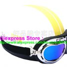 P.27 ABS Half Bol Cycling Open Face Motorcycle White # Yellow Helmet Casco Casque & Goggles