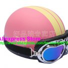 P.37 ABS Half Bol Cycling Open Face Motorcycle Matt Pink # Yellow Helmet Casco Casque & Goggles