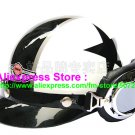 P.39 ABS Half Bol Cycling Open Face Motorcycle White # Black Star Helmet Casco Casque & Goggles