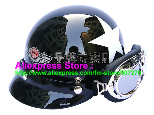 P.41 ABS Half Bol Cycling Open Face Motorcycle Black # White Star Helmet Casco Casque & Goggles