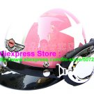 P.42 ABS Half Bol Cycling Open Face Motorcycle Pink # White Star Helmet Casco Casque & Goggles