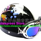 P.45 ABS Half Bol Cycling Open Face Motorcycle Black # Motor Boy Helmet Casco Casque & Goggles