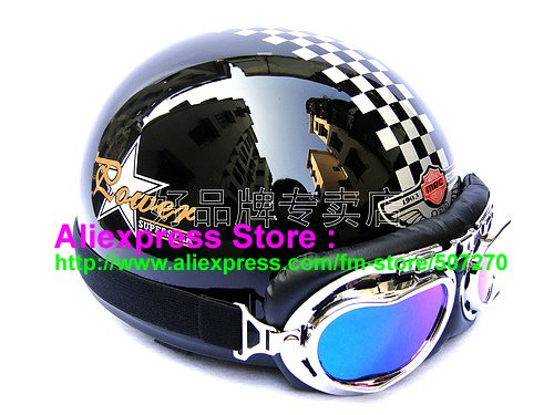 P.46 ABS Half Bol Cycling Open Face Motorcycle Black # Grid Helmet Casco Casque & Goggles