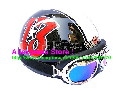 P.47 ABS Half Bol Cycling Open Face Motorcycle Black # Red 13 Helmet Casco Casque & Goggles