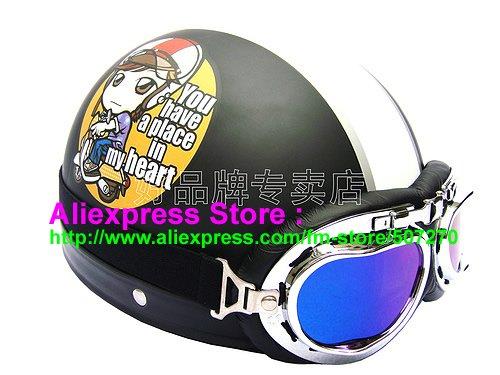 P.52 ABS Half Bol Cycling Open Face Motorcycle Matt Black # Motor Girl Helmet Casco Casque & Goggles