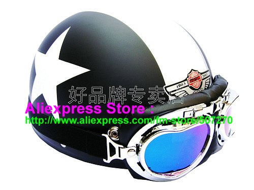 P.54 ABS Half Bol Cycling Open Face Motorcycle Matt Black # White Star Helmet Casco Casque & Goggles