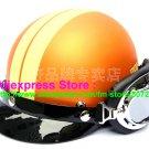 P.55 ABS Half Bol Cycling Open Face Motorcycle Matt Orange # Yellow Helmet Casco Casque & Goggles