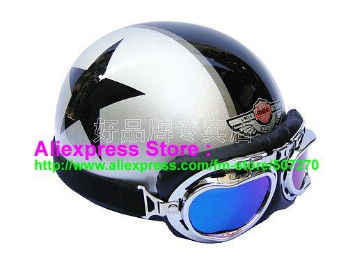 P.61 ABS Half Bol Cycling Open Face Motorcycle Silver # Black Star Helmet Casco Casque & Goggles
