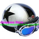 P.61 ABS Half Bol Cycling Open Face Motorcycle Silver # Black Star Helmet Casco Casque & Goggles