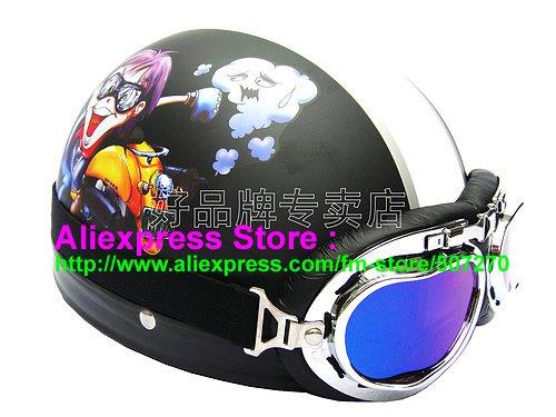 P.63 ABS Half Bol Cycling Open Face Motorcycle Matt Black # Motor Boy Helmet Casco Casque & Goggles