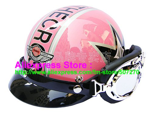 P.76 ABS Half Bol Cycling Open Face Motorcycle Pink # character Helmet Casco Casque & Goggles