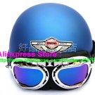 P.79 ABS Half Bol Cycling Open Face Motorcycle Matt Blue Helmet Casco Casque & Goggles