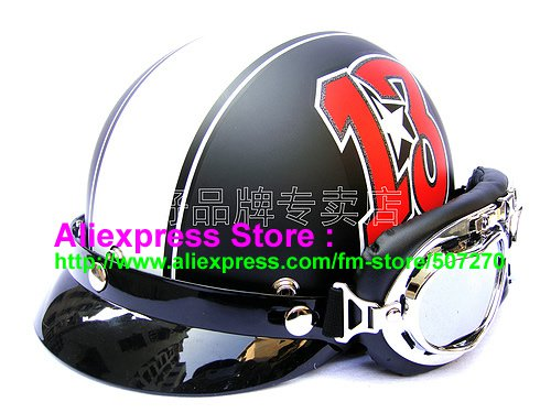 P.83 ABS Half Bol Cycling Open Face Motorcycle Matt Black # Red 13 Helmet Casco Casque & Goggles