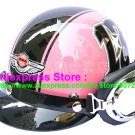 P.84 ABS Half Bol Cycling Open Face Motorcycle Pink # Black 13 Helmet Casco Casque & Goggles