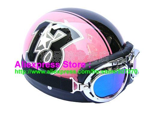 P.89 ABS Half Bol Cycling Open Face Motorcycle Pink # Black 13 Helmet Casco Casque & Goggles