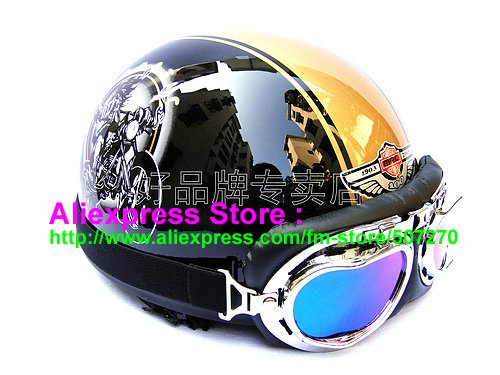 P.92 ABS Half Bol Cycling Open Face Motorcycle Black # Motor pattern Helmet Casco Casque & Goggles