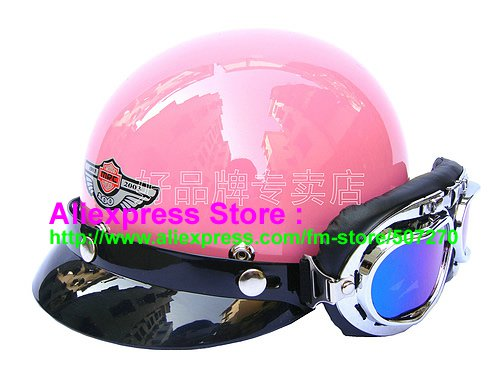 P.99 ABS Half Bol Cycling Open Face Motorcycle Full Pink Helmet Casco Casque & Goggles