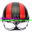 P.102 Leather Half Bol Cycling Open Face Motorcycle Black # Red Helmet Casco Casque & Goggles Free