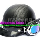 P.103 Leather Half Bol Cycling Open Face Motorcycle Full Black Helmet Casco Casque & Goggles Free