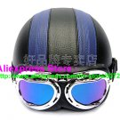 P.104 Leather Half Bol Cycling Open Face Motorcycle Black # Blue Helmet Casco Casque & Goggles Free