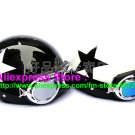 A.05- 2 Unit ABS Half Bol Vespa Cycling Open Face Motorcycle Black + White Helmets & Goggles