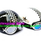A.08- 2 Unit ABS Half Bol Vespa Cycling Open Face Motorcycle Black + White Helmets & Goggles