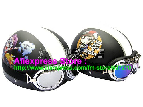 A.14- 2 Unit ABS Half Bol Vespa Cycling Open Face Motorcycle Matt Black + Black Helmets & Goggles