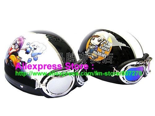 A.16- 2 Unit ABS Half Bol Vespa Cycling Open Face Motorcycle White + Black Helmets & Goggles