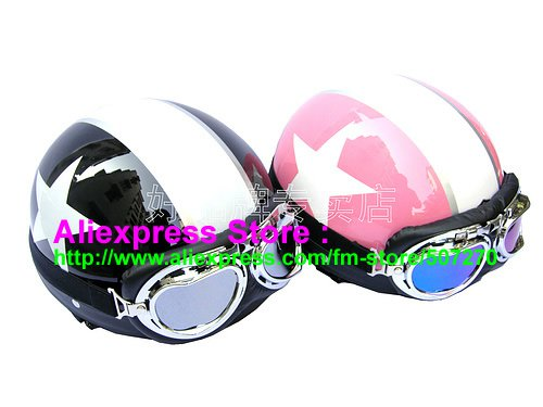 A.17- 2 Unit ABS Half Bol Vespa Cycling Open Face Motorcycle Black + Pink Helmets & Goggles