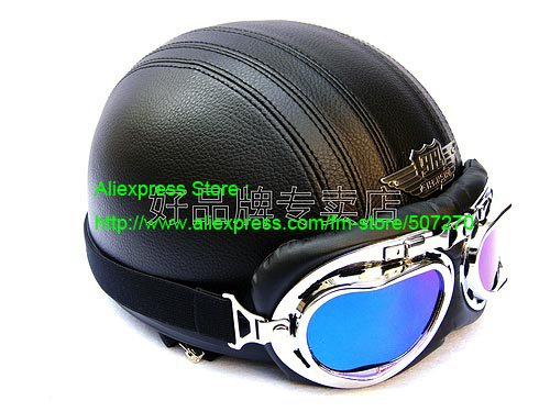 YH-998 Leather Half Bol Cycling Open Face Motorcycle Open Face Full Black Helmet & Color Goggles