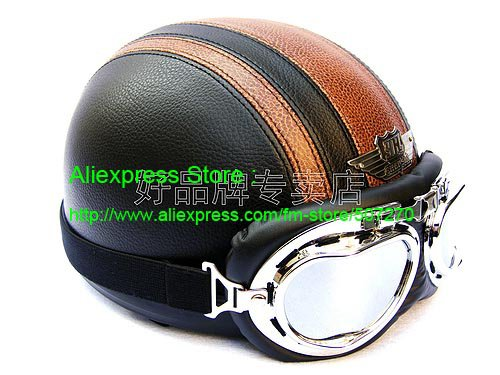 YH-998 Leather Half Bol Cycling Open Face Motorcycle Open Face Black Coffee Helmet & Silver Goggles