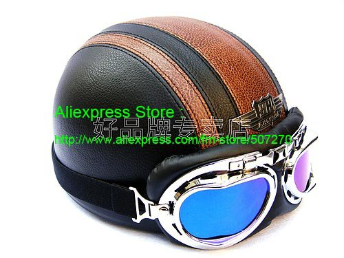 YH-998 Leather Half Bol Cycling Open Face Motorcycle Open Face Black Coffee Helmet & Color Goggles