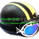 YH-998 Leather Half Bol Cycling Open Face Motorcycle Open Face Black Yellow Helmet & Color Goggles