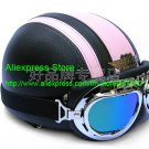 YH-998 Leather Half Bol Cycling Open Face Motorcycle Open Face Black Pink Helmet & Color Goggles